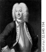 Johan Henrik Scheffel, Gustaf Wilhelm von Köhler, Gustav Vilhelm von Köhler, 1690-1739, painting, portrait, Oil, Height, 79 cm (31.1 inches), Width, 64 cm (25.1 inches) (2019 год). Редакционное фото, фотограф ARTOKOLORO QUINT LOX LIMITED / age Fotostock / Фотобанк Лори