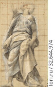 Study of an Apostle, Bernardino Gatti (Italian, about 1495 - 1575), about 1560 - 1570, Black and red chalk, brush and gray-black ink, gray wash heightened... Редакционное фото, фотограф ARTOKOLORO QUINT LOX LIMITED / age Fotostock / Фотобанк Лори