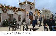 Купить «Moscow, Russia - Dec 13.2019. Journey to Christmas is Moscow Seasons - popular winter festival in Zelenograd», видеоролик № 32647502, снято 13 декабря 2019 г. (c) Володина Ольга / Фотобанк Лори