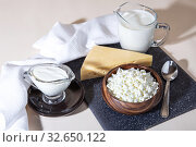 Купить «Food is a source of calcium, magnesium, protein, fats, carbohydrates, balanced diet. Dairy products on the table: cottage cheese, sour cream, milk, cheese, contain casein, albumin, globulin, free lactose», фото № 32650122, снято 14 декабря 2019 г. (c) Светлана Евграфова / Фотобанк Лори
