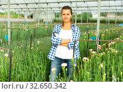 Купить «Woman gardener is standing with flowers carnation in orangery», фото № 32650342, снято 14 августа 2019 г. (c) Яков Филимонов / Фотобанк Лори