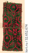 Купить «Two Fragments, 16th century, Italy, Silk, warp-float faced satin weave with supplementary pile warps forming cut, uncut and voided velvet, a: 16.4 × 12.6 cm (6 1/2 × 5 in.)», фото № 32652674, снято 16 июля 2020 г. (c) age Fotostock / Фотобанк Лори
