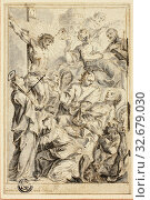 Dying Man Being Consoled by Christ on the Cross, Virgin and Saints, n.d., Gottfried Bernhard Goetz, German, 1708-1774, Germany, Pen and brown ink, with... Редакционное фото, фотограф ARTOKOLORO QUINT LOX LIMITED / age Fotostock / Фотобанк Лори