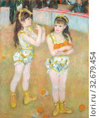 Acrobats at the Cirque Fernando (Francisca and Angelina Wartenberg), 1879, Pierre-Auguste Renoir, French, 1841-1919, France, Oil on canvas, 131.2 × 99.2 cm (51 ½ × 39 1/16 in.) Редакционное фото, фотограф ARTOKOLORO QUINT LOX LIMITED / age Fotostock / Фотобанк Лори