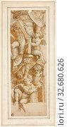Five Putti with Books, c. 1543, After Bernardino Gatti, called Il Sojaro, Italian, c. 1495-1575, Italy, Brush and brown wash, with black chalk, on cream... Редакционное фото, фотограф ARTOKOLORO QUINT LOX LIMITED / age Fotostock / Фотобанк Лори
