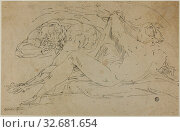 Купить «Nymph and Satyr, after 1560, Follower of Luca Cambiaso, Italian, 1527-1585, Italy, Brush and gray ink with traces of pen and brown ink, on buff laid paper, laid down on ivory laid paper, 263 x 408 mm», фото № 32681654, снято 5 июня 2020 г. (c) age Fotostock / Фотобанк Лори