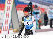 Купить «Korean sportswoman biathlete Lee Hyunju South Korea at finish line after skiing, rifle shooting during Regional junior biathlon competitions East of Cup», фото № 32685050, снято 12 апреля 2019 г. (c) А. А. Пирагис / Фотобанк Лори