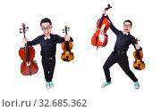 Купить «Funny man with violin on white», фото № 32685362, снято 13 мая 2013 г. (c) Elnur / Фотобанк Лори