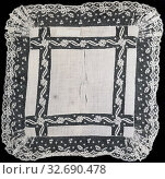 Handkerchief, 1875/1900, Belgium, Belgium, Linen, plain weave with insertion and edge of cotton, bobbin straight lace of a type known as Valenciennes with... Редакционное фото, фотограф ARTOKOLORO QUINT LOX LIMITED / age Fotostock / Фотобанк Лори
