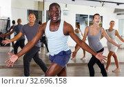 Купить «dancing people practicing vigorous swing», фото № 32696158, снято 30 июля 2018 г. (c) Яков Филимонов / Фотобанк Лори