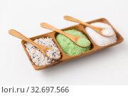 Купить «sea salt and spoons on wooden tray», фото № 32697566, снято 8 ноября 2018 г. (c) Syda Productions / Фотобанк Лори