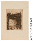 Portrait of Stéphane Mallarmé, 1891, printed 1919, Paul Gauguin, French, 1848-1903, France, Etching, drypoint and engraving in brown-black on cream Japanese... Редакционное фото, фотограф ARTOKOLORO QUINT LOX LIMITED / age Fotostock / Фотобанк Лори