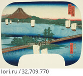 Long Bridge at Seta (Seta no nagahashi), from the series Eight Views of Omi (Omi hakkei), 1852, Utagawa Hiroshige ?? ??, Japanese, 1797-1858, Japan, Color... Редакционное фото, фотограф ARTOKOLORO QUINT LOX LIMITED / age Fotostock / Фотобанк Лори