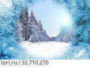 Купить «Frosty pattern on glass», фото № 32710270, снято 7 февраля 2016 г. (c) Евгений Ткачёв / Фотобанк Лори