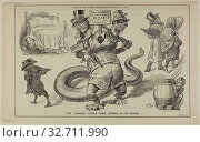 The 'League' Hydras Gone Wrong in Its Heads, from Judy, published December 7, 1887, W. B., probably English, 19th century, United States, Lithograph on newsprint, 278 x 447 mm. Редакционное фото, фотограф ARTOKOLORO QUINT LOX LIMITED / age Fotostock / Фотобанк Лори