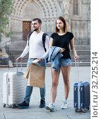 Купить «Nice couple going the historic city center», фото № 32725214, снято 25 мая 2017 г. (c) Яков Филимонов / Фотобанк Лори