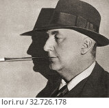 Richard Horatio Edgar Wallace, 1875-1932. English writer. From The Pageant of the Century, published 1934. Редакционное фото, фотограф Classic Vision / age Fotostock / Фотобанк Лори