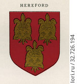 Coat of arms of the Diocese of Hereford. From Cathedrals, published 1926. Редакционное фото, фотограф Classic Vision / age Fotostock / Фотобанк Лори