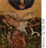 German: Healing of Lazarus, Westphalian Master, German, c. 1400, Oil and gold on wood panel, Overall: 17 1/8 x 14 7/8 in. (43.5 x 37.8 cm) (2019 год). Редакционное фото, фотограф ARTOKOLORO QUINT LOX LIMITED / age Fotostock / Фотобанк Лори
