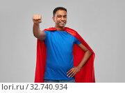 Купить «indian man in superhero cape makes winning gesture», фото № 32740934, снято 17 ноября 2019 г. (c) Syda Productions / Фотобанк Лори