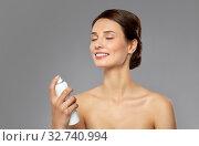 Купить «beautiful young woman with facial spray or mist», фото № 32740994, снято 30 ноября 2019 г. (c) Syda Productions / Фотобанк Лори
