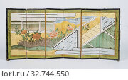 Купить «Folding screen painted with Japanese scenes, folding screen with six panels, made of wood, covered on both sides with paper, with paper hinges (two whole...», фото № 32744550, снято 4 апреля 2020 г. (c) age Fotostock / Фотобанк Лори