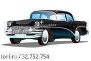 Купить «Старый мультияшный легковой ретро автомобиль на белом фоне, векторная иллюстрация», иллюстрация № 32752754 (c) Рожков Юрий / Фотобанк Лори