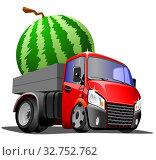 Купить «Мультяшный грузовой автомобиль везет арбуз, изолированно на белом фоне. Векторная иллюстрация.», иллюстрация № 32752762 (c) Рожков Юрий / Фотобанк Лори
