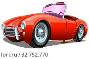 Купить «Старый мультияшный легковой ретро автомобиль на белом фоне, векторная иллюстрация», иллюстрация № 32752770 (c) Рожков Юрий / Фотобанк Лори