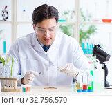Купить «Male biochemist working in the lab on plants», фото № 32756570, снято 3 марта 2018 г. (c) Elnur / Фотобанк Лори