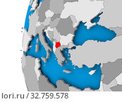Купить «Macedonia in red on political globe. 3D illustration.», фото № 32759578, снято 23 февраля 2020 г. (c) easy Fotostock / Фотобанк Лори