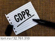 Купить «Writing note showing GDPR. Business photo showcasing General Data Protection Regulation privacy eu laws compliance Ideas paper marker pens important inspiration memories love thoughts», фото № 32761310, снято 28 мая 2020 г. (c) easy Fotostock / Фотобанк Лори