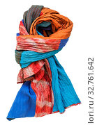 Купить «Knotted stitched patchwork scarf from batik and painted silk fabric pieces isolated on white background», фото № 32761642, снято 11 июля 2020 г. (c) easy Fotostock / Фотобанк Лори