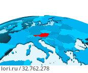 Купить «Map of Austria in red on blue political globe with transparent oceans. 3D illustration.», фото № 32762278, снято 23 февраля 2020 г. (c) easy Fotostock / Фотобанк Лори