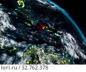 Купить «Haiti from space at night with visible country borders. 3D illustration. Elements of this image furnished by NASA.», фото № 32762378, снято 23 февраля 2020 г. (c) easy Fotostock / Фотобанк Лори