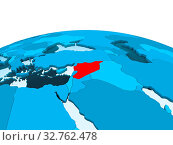 Купить «Map of Syria in red on blue political globe with transparent oceans. 3D illustration.», фото № 32762478, снято 23 февраля 2020 г. (c) easy Fotostock / Фотобанк Лори
