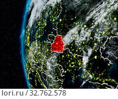 Купить «Belarus at night with visible country borders. 3D illustration. Elements of this image furnished by NASA.», фото № 32762578, снято 23 февраля 2020 г. (c) easy Fotostock / Фотобанк Лори