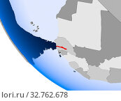 Купить «Map of Gambia in red on political globe with transparent oceans. 3D illustration.», фото № 32762678, снято 23 февраля 2020 г. (c) easy Fotostock / Фотобанк Лори