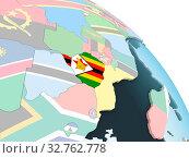 Купить «Zimbabwe on bright political globe with embedded flag. 3D illustration.», фото № 32762778, снято 23 февраля 2020 г. (c) easy Fotostock / Фотобанк Лори