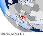 Купить «Map of Croatia in red on political globe with transparent oceans. 3D illustration.», фото № 32763178, снято 23 февраля 2020 г. (c) easy Fotostock / Фотобанк Лори