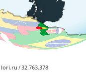 Купить «Guyana on bright political globe with embedded flag. 3D illustration.», фото № 32763378, снято 23 февраля 2020 г. (c) easy Fotostock / Фотобанк Лори