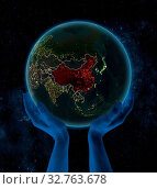Купить «China on night planet Earth with visible country borders in hands in space. 3D illustration.», фото № 32763678, снято 23 февраля 2020 г. (c) easy Fotostock / Фотобанк Лори