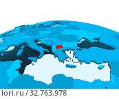 Купить «Map of Macedonia in red on blue political globe with transparent oceans. 3D illustration.», фото № 32763978, снято 23 февраля 2020 г. (c) easy Fotostock / Фотобанк Лори