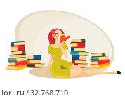 Купить «Attractive librarian sitting on the carpet», фото № 32768710, снято 5 апреля 2020 г. (c) easy Fotostock / Фотобанк Лори