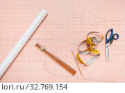 Купить «Top view of hand drawn clothing pattern on sheet of graph paper», фото № 32769154, снято 28 февраля 2020 г. (c) easy Fotostock / Фотобанк Лори
