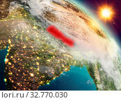 Купить «Sunrise above Nepal highlighted in red on model of planet Earth in space. 3D illustration. Elements of this image furnished by NASA.», фото № 32770030, снято 29 марта 2020 г. (c) easy Fotostock / Фотобанк Лори