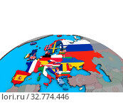 Купить «Europe with embedded national flags on political 3D globe. 3D illustration.», фото № 32774446, снято 27 мая 2020 г. (c) easy Fotostock / Фотобанк Лори