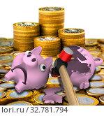 Купить «Молоток разбивает копилку», иллюстрация № 32781794 (c) WalDeMarus / Фотобанк Лори