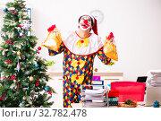 Купить «Funny clown in Christmas celebration concept», фото № 32782478, снято 20 июля 2018 г. (c) Elnur / Фотобанк Лори