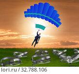 Купить «The businessman falling into trap on parachute», фото № 32788106, снято 8 апреля 2020 г. (c) Elnur / Фотобанк Лори